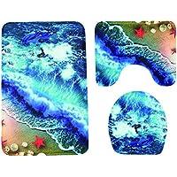 OUNONA Juego de alfombrillas de baño de 3 piezas Patrón de olas Alfombra de baño antideslizante Alfombra Alfombra Cubierta de la tapa Alfombra de pedestal suave