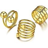 Goldchic Jewelry 7-28 Pezzi 1mm Anello Midi Da Donna Impilabile, Set Di Anelli a Fascia Normale In Acciaio Inossidabile, Misu