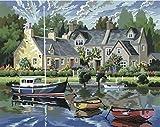 L'Art et la Manière Peinture au numéro motif Maisons Bretonnes 30 x 40 cm Couleurs Assorties
