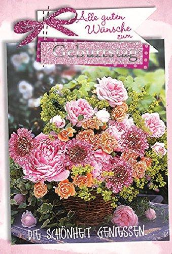 Karte Geburtstag Motiv Glimmer Strauss Blumen Rosen Gerbera Weidenkorb - Liefermenge 5 Stück Fünf Weidenkörbe