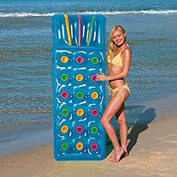Bestway Inflatable  Pocket Fashion Sun Lounger Lilo Swimming Pool Air Bed Beach Mat  Colours Pink Or Blue Blue Amazon Co Uk Toys Games