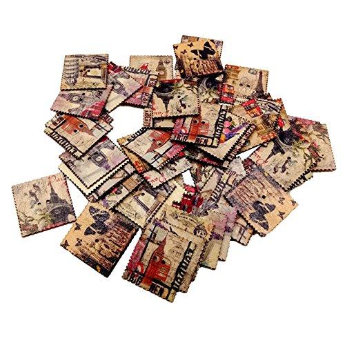 Goodtimes28 Lot de 50 boutons en bois Motif carte postale