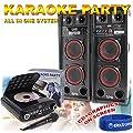 "2x 6.5"" Dual Active DJ Speakers Karaoke Machine Party System + FREE Microphone"