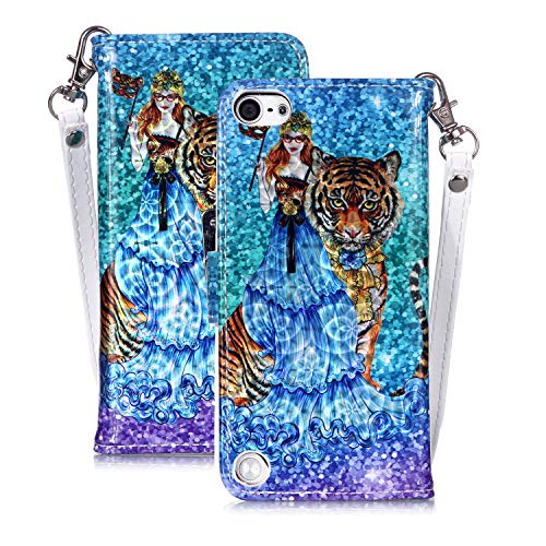 iPod Touch 5 Hülle Case,3D Muster Glitzer Bling Telefonkasten Tasche Magnetisch Handytasche Silikon PU Leder Etui Stoßfest Fall Handyhülle Cover Shell Ständer für Apple iPod Touch 5/6 (Tiger) (Tiger-ipod-touch-fall)
