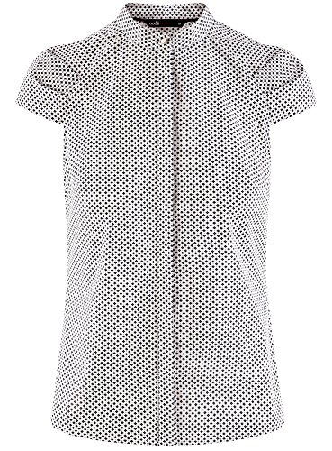 oodji Ultra Damen Bluse Aus Baumwolle mit Kurzen Ärmeln Weiß (1079G)