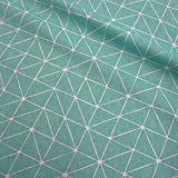 Stoff Meterware Baumwolle Origami Grafik türkis weiß Linien Japan pflegeleicht