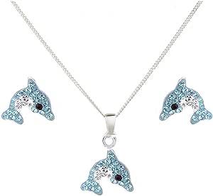 JUNGEN Kristall Anh/änger Halskette Ohrringe Damen Schmuckset Geburtstagsgeschenk Blau