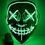 RONSHIN Led Mask for Halloween EL Light KTV Dance Party Scary Mask green Halloween Decoration