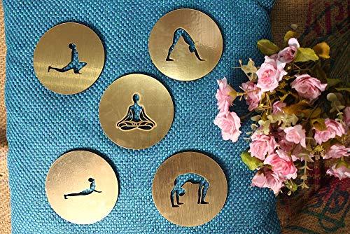 Yoga-Untersetzer, Meditations-Untersetzer, handgefertigt, Heimdekoration, Yoga-Geschenk, 5 Stück