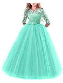 fd7b4d331 Vestido de niña de flores para la boda Princesa Largo Gala Encaje De  Ceremonia Vestidos de