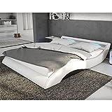 Polster-Bett 140x200 cm weiß-schwarz aus Kunstleder mit blauer LED-Beleuchtung   Mavani   Das Kunst-Leder-Bett ist ein edles Designer-Bett   Doppel-Bett 140 cm x 200 cm mit Lattenrost in Leder-Optik, Made in EU