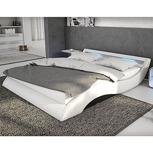Polster-Bett 140x200 cm weiß-schwarz aus Kunstleder mit blauer LED-Beleuchtung | Mavani | Das Kunst-Leder-Bett ist ein edles Designer-Bett | Doppel-Bett 140 cm x 200 cm mit Lattenrost in Leder-Optik, Made in EU -