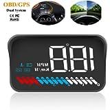 Car Universal HUD Head Up Display OBD II/GPS Interface,Vehicle Speed MPH KM/h,Engine RPM,OverSpeed Warning,Mileage…