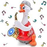 Jouets musicaux d'éducation précoce - Marche musicale Lumières clignotantes Saxophone Canard d'oie, Imitation sonore Parler J