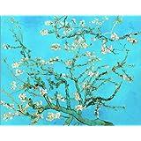 Cuadro sobre lienzo 60 x 50 cm: Almond Blossom de Vincent van Gogh - cuadro terminado, cuadro sobre bastidor, lámina terminada sobre lienzo auténtico, impresión en lienzo