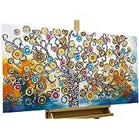 KunstLoft® cuadro acrílico 'Oracle of Insights' 120x60cm   Original pintura XXL pintado a mano en lienzo   Árbol, naturaleza, colorido, círculos   Mural acrílico de arte moderno en una pieza con marco
