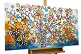 KunstLoft® Acryl Gemälde 'Oracle of Insights' 120x60cm | original handgemalte Leinwand Bilder XXL | Baum Natur Bunt Kreise | Wandbild Acrylbild moderne Kunst einteilig mit Rahmen