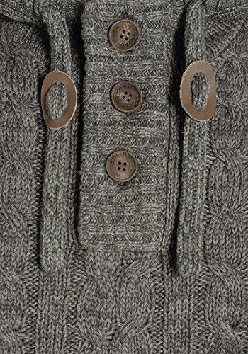 SOLID Pierre Herren Kapuzenpullover Strickhoodie aus 100% Baumwolle Meliert Dark Grey (2890)