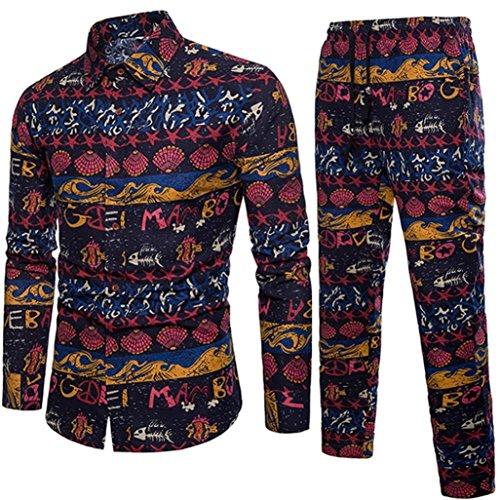 Malloom_Vêtements Malloom Chemise à Manches Longues Imprime pour Homme Marine FR:52(XL)