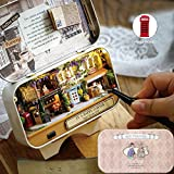 Diy Dollhouse Kit,Aolvo Miniature 3D Retro Tin Box Theme Theatre Model With Led Light Creative Craft Perfect Valentine's Day and Birthday Gift (Coner) with Making Tools Kit