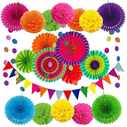 Zerodeco Party Dekoration Papier Pompoms, Aufhängen Fächer, Dreieckige Wimpel und hängende Glitter Punkt Girlande für Party Hochzeit Geburtstag Festival Weihnachten Event Mexikanische Fiesta 21 Stück -