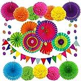 Zerodeco Décoration de fête Fournitures, 21 Pièces Multicolore Papier Pompoms Fleurs, Eventail Boule, Banderole en Triangle, Ventilateur de Guirlandes fête d'anniversaire, Fiesta Mexicain Carnaval