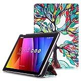 """ASUS ZenPad 10 Étui -  Etui Housse à Rabat avec Support et Fonction Réveil / Sommeil Automatique pour ASUS ZenPad 10 Z301M / Z301ML / Z301MF / Z301MFL / Z300M / Z300C Tablette Tactile 10.1"""", Arbre Coloré"""