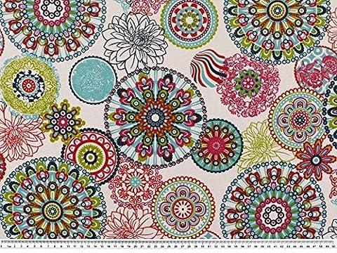 Tissu d'ameublement, cercles de fleurs, blanc/multicolore 140cm aux couleurs