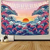 """HZAMING, arazzo con onde dell'oceano e tramonto in 3D, arazzo giapponese per pareti, Onda oceano., 58"""" x 78"""""""