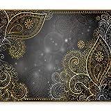 murando - Fototapete 350x256 cm - Vlies Tapete - Moderne Wanddeko - Design Tapete - Wandtapete - Wand Dekoration - Orient Ornament bokeh grau gold f-A-0146-a-d