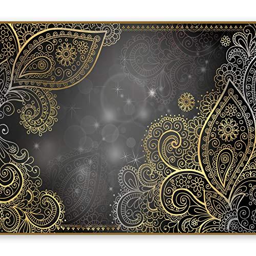 murando - Fototapete 250x175 cm - Vlies Tapete - Moderne Wanddeko - Design Tapete - Wandtapete - Wand Dekoration - Orient Ornament bokeh grau gold f-A-0146-a-d