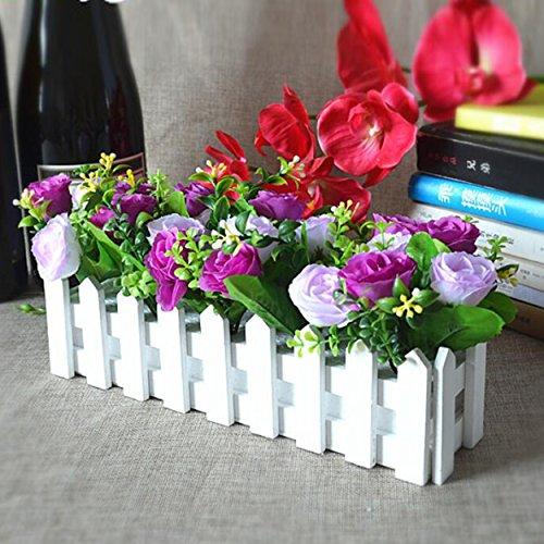 Flikool Roses Künstliche Pflanzen mit Weiß Zaun Gefälschte Künstliche Blumen mit Topf Simulation Topfpflanzen Bonsai Kunstblumen Kunstpflanzen Ornaments Dekorationen - Lila