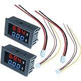 Diymore 2PCS DC 100V 10A LED Amperímetro digital Voltímetro Azul Rojo Pantalla de doble color Voltímetro Medidor de amperaje