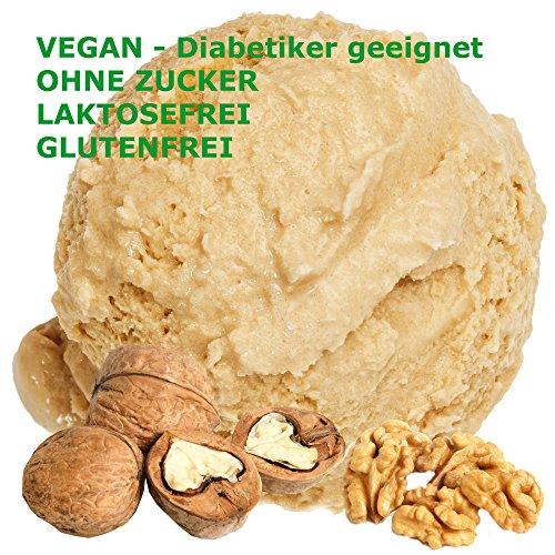 Wallnuss Geschmack Eispulver VEGAN - OHNE ZUCKER - LAKTOSEFREI - GLUTENFREI - FETTARM, auch für Diabetiker Milcheis Softeispulver Speiseeispulver Gino Gelati (Wallnuss, 333 g) (Kokosmilch Joghurt)