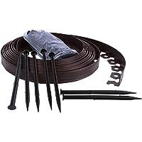 Ribbonboard Konrado-Garden Bordure de pelouse en plastique souple avec piquets de fixation Marron 4 cm, longueur 10…