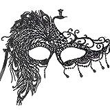 JUSTFOX - Venezianische Augenmaske Schwarz Pfau