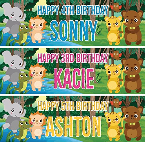 (fancyprint 2Personalisierte Geburtstag Banner Jungle Animal Kinder Kids Party Poster Dekoration)