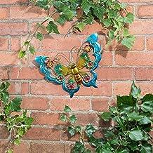 Metálico mariposas arte de pared con joyas decoración para iluminar su jardín–mariposa (azul)