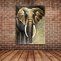 IPLST@ Grande e moderno di arte della parete foto, pittura a olio animale Elefante africano su tela-24x36inch(Nessuna cornice, senza barella)