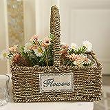 cesto seagrass, cestino intrecciato seagrass con manico casa decorativo vaso di fiori vaso di fiori intrecciati cestino cestino di immagazzinaggio organizzatore - rettangolare