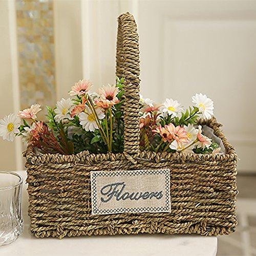 Seegras Korb, geflochtene Seegras Korb mit Griff zu Hause dekorative Blumentopf Pflanzgefäß Vase gewebt Ablagekorb Mülleimer Veranstalter - rechteckig