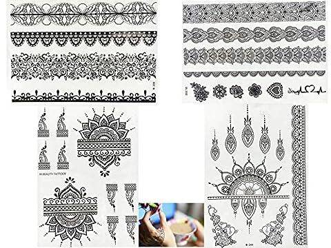 4+ 1feuilles Henna Tattoo Noir Faux tatouage flash Noir Henné Design