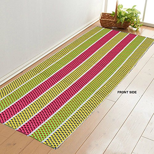 Younique Double Side Dual Colour Cotton Hand Loom Floor Mat/Runner/Rug...