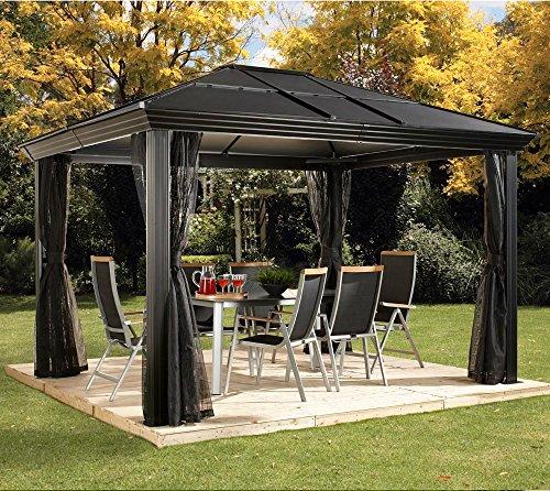 Aluminium Pavillon Überdachung Gazebo Cambridge 10x12 // 360x297 cm (BxH) // Sommer-Pavillon und Gartenlaube mit Hard-Top Dach von Sojag