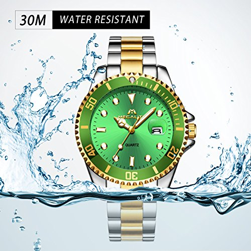 Mens Big Face Stainless Steel Watches Men Luxury Design 30M Waterproof Calendar Date Analogue Quartz Wrist Watch Gents Business Casual Fashion Sports Dress Heavy Watches with Gold Green Dial