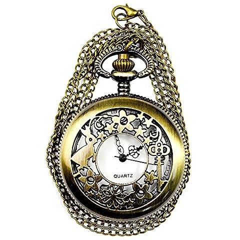 Ma-on Bronze creux Fleur vintage Key Pendentif Étoile Lapin montre