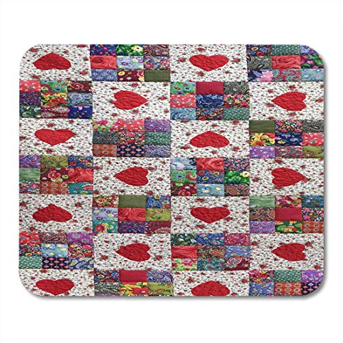 AOHOT Mauspads Patchwork Quilt Floral Summer Pattern Hearts Vintage Scrappy Geometric Quilting Patch Work Colorful Folk Mouse pad Mats 9.5