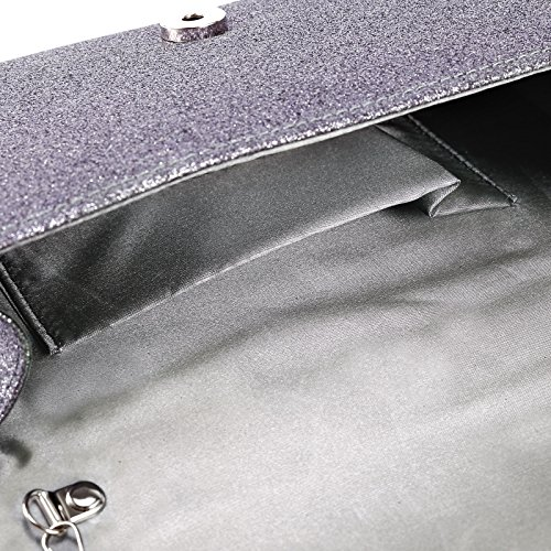 Mit umklappende Dekel Clutch Handtasche Abendtasche Umhaengetasche 5 Farbe Grau
