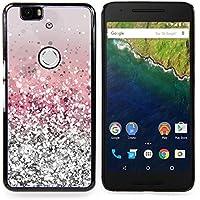 For Huawei Google Nexus 6P Case , Glitter Argento Rosa lucido neve Sparkly Diamante - Design Pattern Duro Staccabile Stile Telefono Cellulare Nuovo Caso Cover Guscio Duro