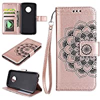 MOTO G5 Wallet Case, EST-EU Retro Mandala Embossing PU Leather Stand Function Protective Covers with Card Slot Holder Wallet Book Case for MOTOROLA MOTO G5, Rose Gold